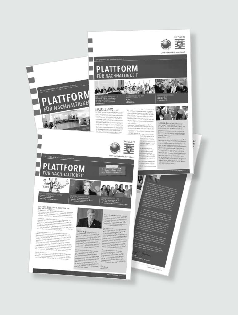 """Sammlung von unterschiedlichen Ausgaben der """"Plattform für Nachhaltigkeit"""""""